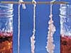 Three pink crystals grow on three strings that hang from a skewer suspended across two jars of red water