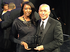 2013 Black Engineer of the Year Award recipient Aisha Bowe and Administrator Charles Bolden. Credit: NASA