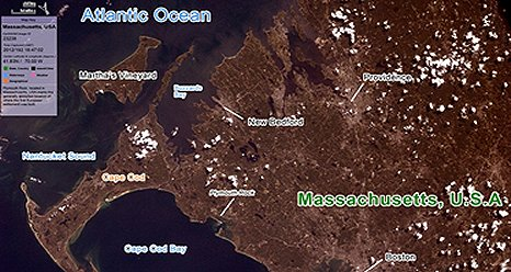 A picture of the east coast of Massachusetts taken as part of the Earth Knowledge Acquired by Middle school students (EarthKAM) mission. (EarthKAM)