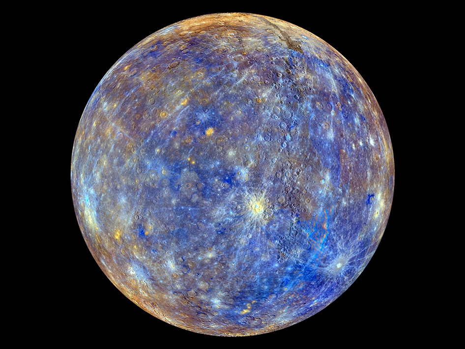 This colorful view of Mercury was produced by using images from the color base map imaging campaign during MESSENGER's primary mission. Image Credit: NASA/Johns Hopkins University Applied Physics Laboratory/Carnegie Institution of Washington