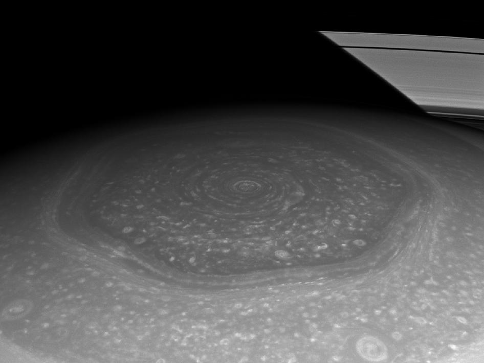 Image of Saturn's north polar hexagon in the Sun's light, taken with the Cassini spacecraft's wide-angle camera on Nov. 27, 2012. Image Credit: NASA/JPL-Caltech/Space Science Institute