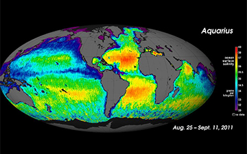 First global map of ocean saltiness, a composite of the first two and a half weeks of data since Aquarius instrument became operational on August 25. Image Credit: NASA/GSFC/JPL-Caltech