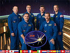 The Expedition 35 crew poses in front of a picture of Earth taken from space