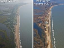 Left: Wallops in August 2012. Right: Wallops in November 2012, after Hurricane Sandy