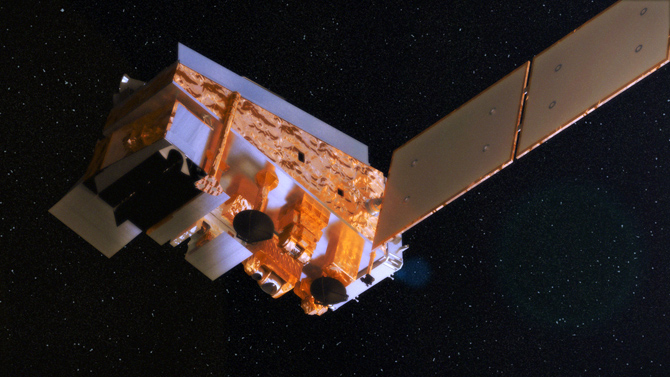 Artist's concept of the Suomi NPP satellite in space.