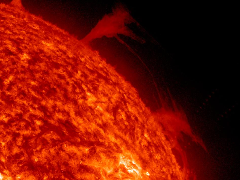 In just 14 hours two active regions not far apart popped off numerous, relatively minor, flares, while a pair of filaments above the Sun's edge sent elongated steams of plasma back and forth between the two of them (Feb. 20, 2013).