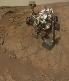 Rover's self-portrait at 'John Klein' drilling site