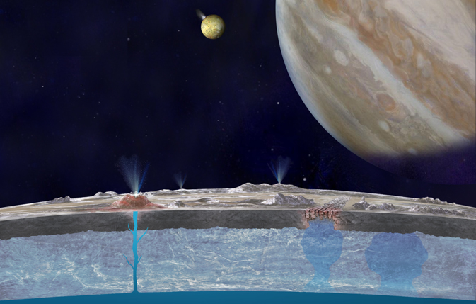 Artist's concept of Jupiter and Europa