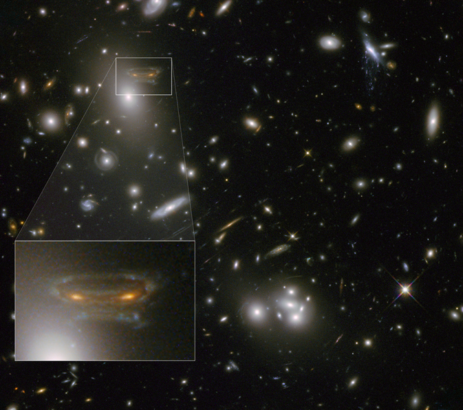 Hubble image of Abell 68 galaxy cluster