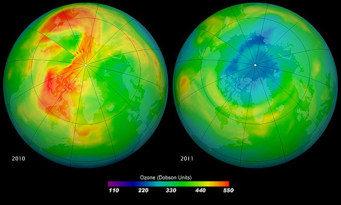 Maps of ozone concentrations over the Arctic come from the Ozone Monitoring Instrument (OMI) on NASA's Aura satellite. The left image shows March 19, 2010, and the right shows the same date in 2011. March 2010 had relatively high ozone, while March 2011 has low levels.