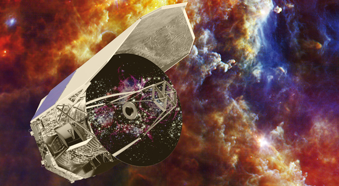 Artist's impression of Herschel set against an image captured by the observatory
