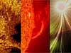 Collage of three solar images