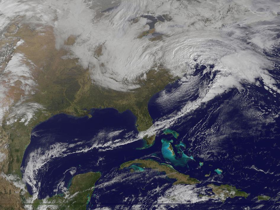 A satellite image from NOAA's GOES-13 satellite on March 6, 2013 shows a winter storm hitting the mid-Atlantic. Image Credit: NOAA-NASA GOES Project