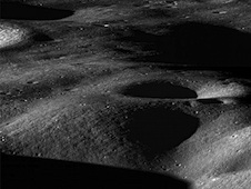 LRO image across the north rim of Cabeus crater
