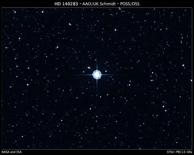 This is a Digitized Sky Survey image of the oldest star with a well-determined age in our galaxy. The aging star, cataloged as HD 140283, lies 190.1 light-years away.