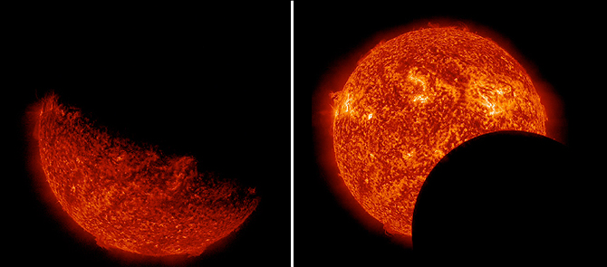 Left: The Earth eclipses the sun.