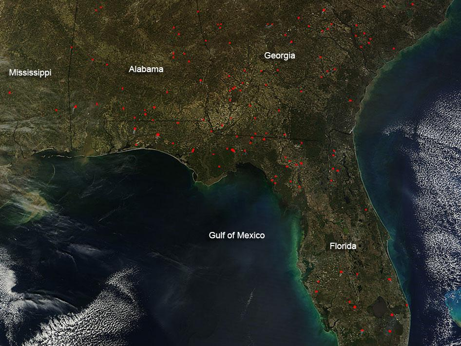 Wildfires in southern U.S.
