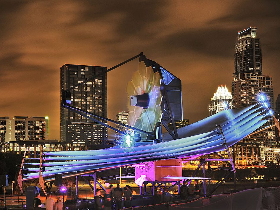 Full-scale model of the James Webb Space Telescope model on display at South by Southwest in Austin. Image Credit: NASA/Chris Gunn