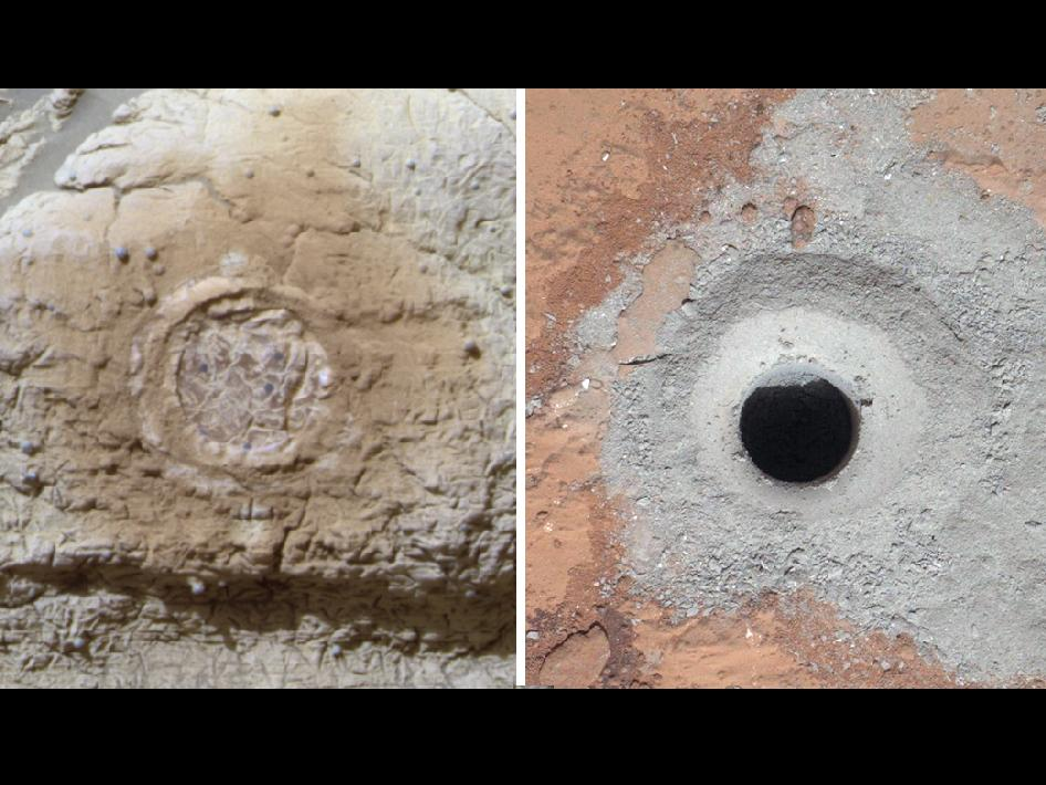 This set of images shows the results from the rock abrasion tool