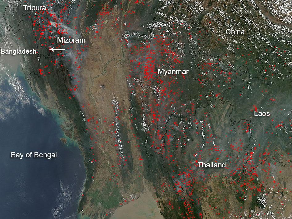 Agricultural fires in Indochina