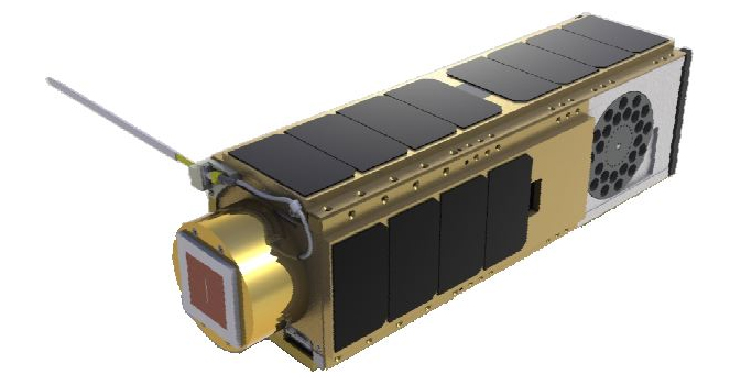 A three-unit small satellite, approximately 10 cm by 10 cm by 30 cm.
