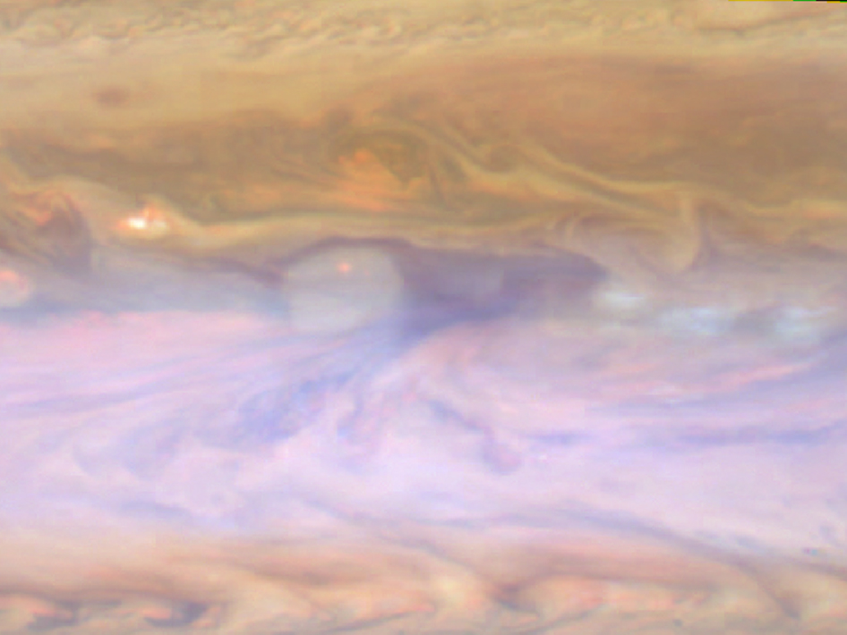 Jupiter's dark hot spot in false-color