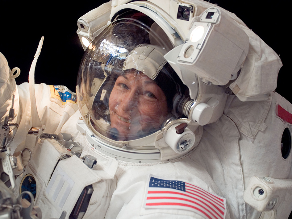 Expedition 16 commander Peggy Whitson, the first female commander of the International Space Station, participates in a seven hour, ten minute spacewalk. Image Credit: NASA