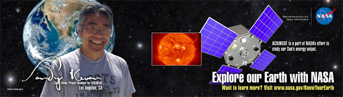 ACRIMSAT banner with Sandy Kwan