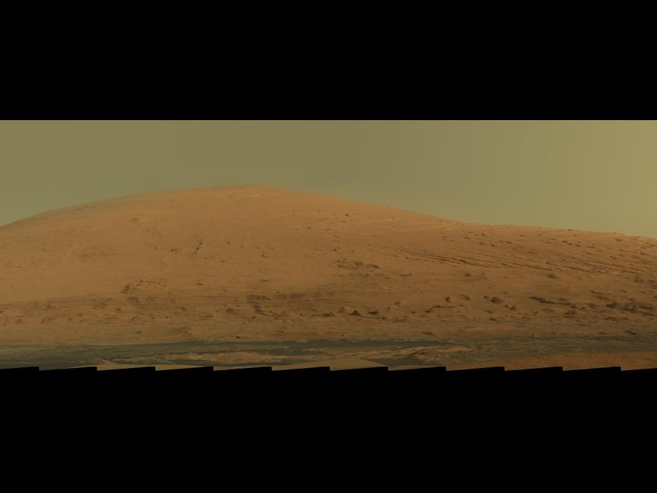Mosaic of images from the Mast Camera (Mastcam) on NASA's Mars rover Curiosity showing Mount Sharp in raw color