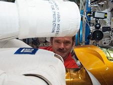 Canadian Space Agency astronaut Chris Hadfield works with Robonaut in the Destiny laboratory. (NASA)