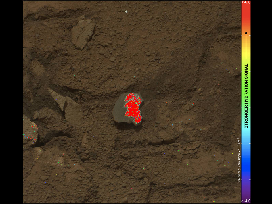 On this image of the broken rock called 'Tintina,' color coding maps the amount of mineral hydration indicated by a ratio of near-infrared reflectance intensities measured by the Mast Camera (Mastcam) on NASA's Mars rover Curiosity.