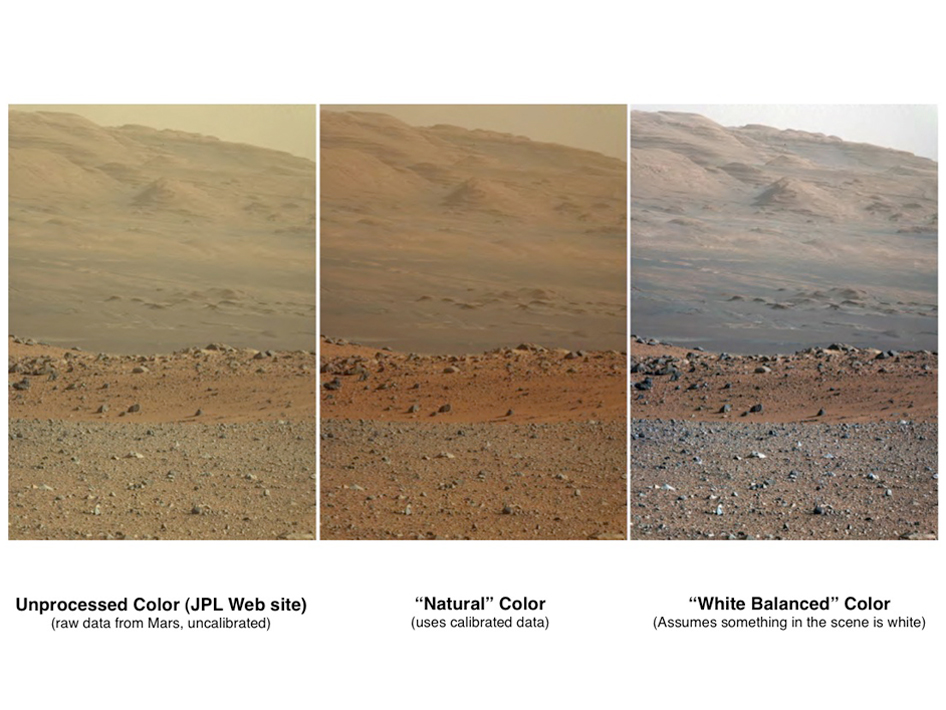 'Raw,' 'Natural' and 'White-Balanced' Views of Martian Terrain