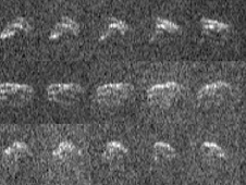 These radar images of asteroid 2013 ET were obtained when the asteroid was about 693,000 miles (1.1 million kilometers / 2.9 lunar distances) from Earth.