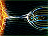 Diagram of the solar wind and Earth's magnetic field