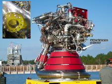 The J2X engine before installation at the Stennis Space Center.