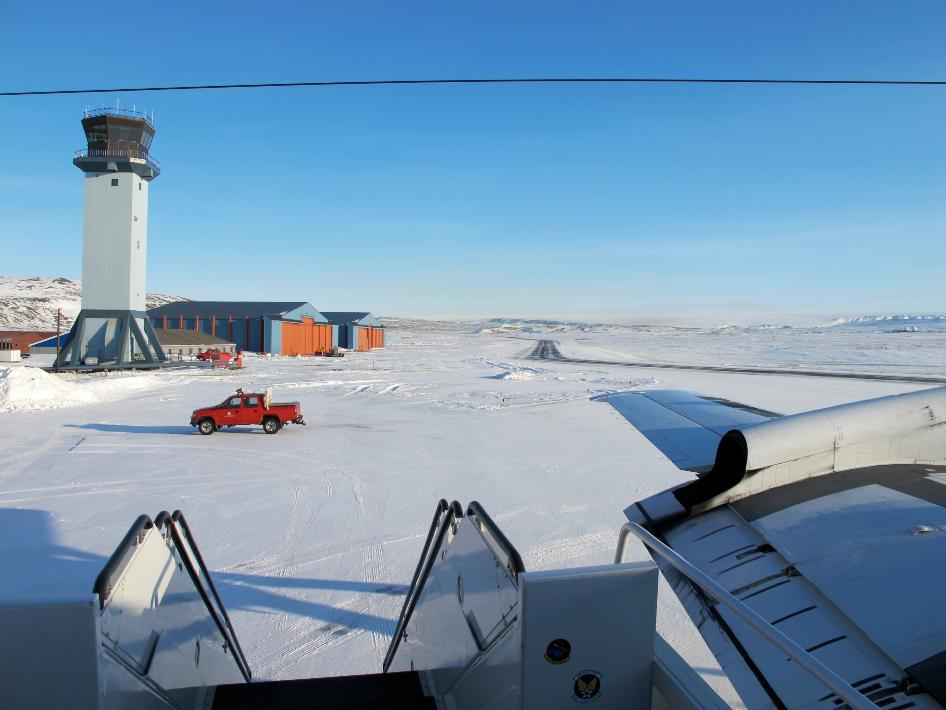 A sunny view of the ramp at Thule Air Base, Greenland, shortly after the NASA P-3B research aircraft arrived on Mar. 18, 2013.
