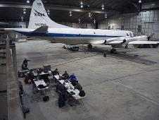 The NASA P-3B sits in the hangar at Thule Air Base while the IceBridge team waits for fog to clear on the morning of Mar. 20, 2013.