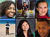 Rectangular collage of six pictures of six individual students