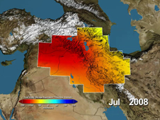 Data map showing major groundwater losses in the Middle East