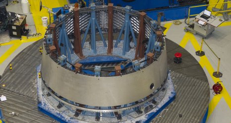 An adapter for the Orion spacecraft under construction at the Marshall Center