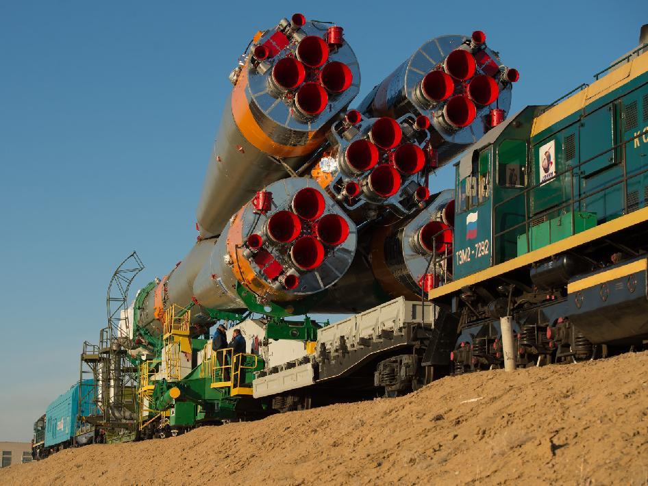 The Soyuz rocket is rolled out to the launch pad