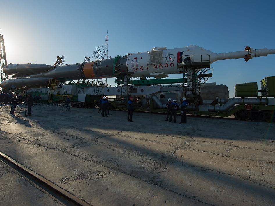 The Soyuz rocket arrives at its launch pad