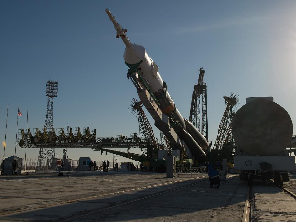 The Soyuz rocket is erected into position