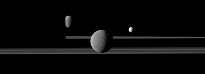 Three of Saturn's moons