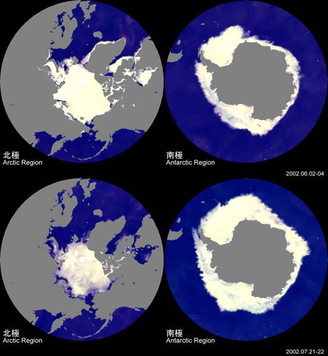 Tracking polar sea ice changes from Aqua's  AMSR-E instrument from June and July 2002