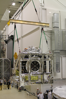 GPM Core Observatory being loaded into the thermal vacuum chamber for testing