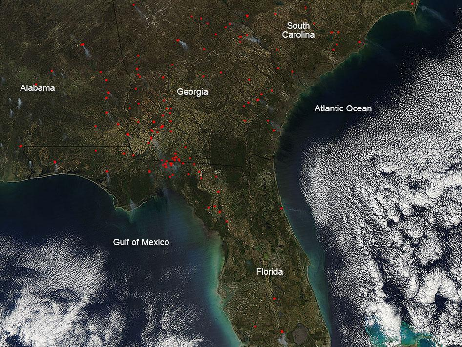NASA Fires In Southeastern United States - Map of fires in southeast us