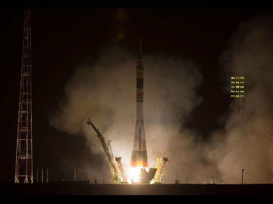 The Soyuz TMA-08M rocket launches