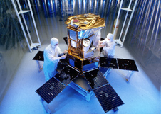 The SORCE satellite in a clean room before it launched.