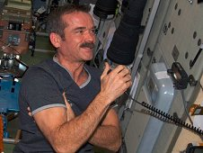 NASA astronaut Chris Hadfield during an ISS Ham Radio session with students. (NASA)